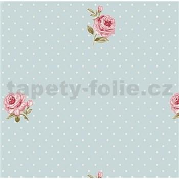 Vliesové tapety na zeď LITTLE FLORALS růže na modrém podkladu s puntíky