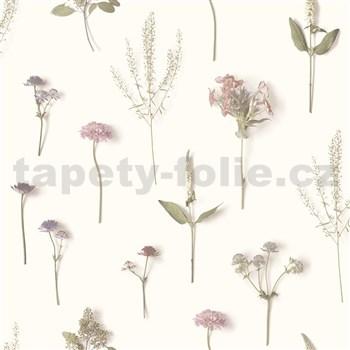 Moderní vliesové tapety na zeď NATURAL FOREST bylinky růžovo-fialové