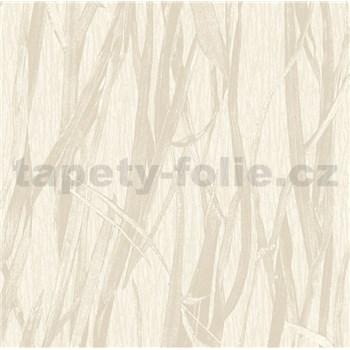 Luxusní vliesové tapety na zeď NATURAL FOREST rákos krémový s třpytkami