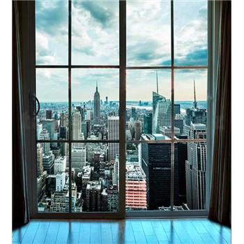 Vliesové fototapety výhled z okna na Manhattan rozměr 225 cm x 250 cm