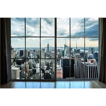 Vliesové fototapety výhled z okna na Manhattan rozměr 375 cm x 250 cm