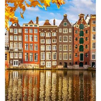 Vliesové fototapety domy v Amsterdamu rozměr 225 cm x 250 cm