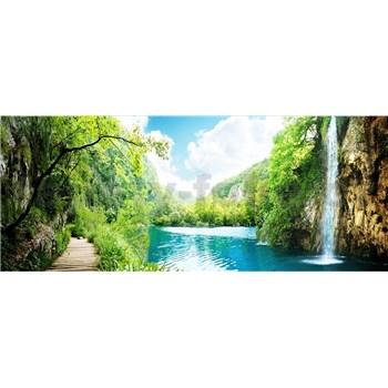 Vliesové fototapety vodopád ve skalách rozměr 375 cm x 150 cm