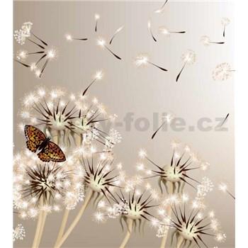 Vliesové fototapety pampelišky a motýli rozměr 225 cm x 250 cm