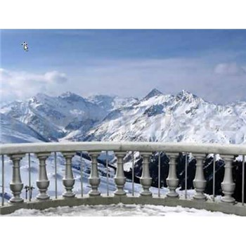 Vliesové fototapety sněžná terasa rozměr 312 cm x 219 cm