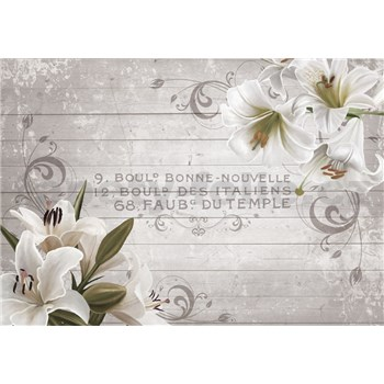 Vliesové fototapety lilie na dřevěných latích rozměr 368 cm x 254 cm