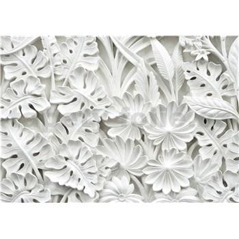 Vliesové fototapety 3D květy bílé rozměr 312 cm x 219 cm