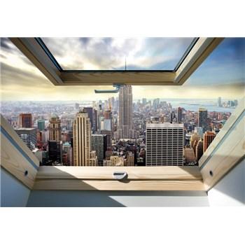 Vliesové fototapety New York Manhattan pohledem ze střešního okna rozměr 254 cm x 368 cm