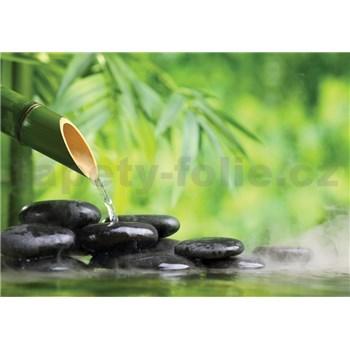 Vliesové fototapety lávové kameny a bambus rozměr 368 cm x 254 cm