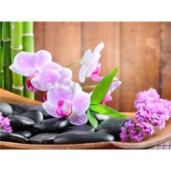 Vliesové fototapety orchidej, kameny rozměr 312 cm x 219 cm