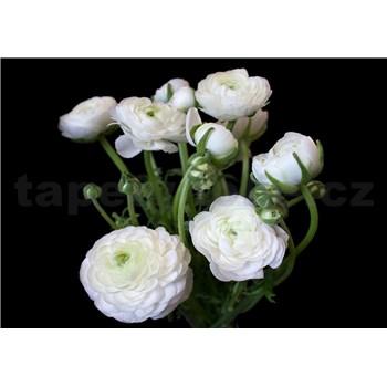 Vliesové fototapety bílé květy na černém pozadí rozměr 254 cm x 184 cm