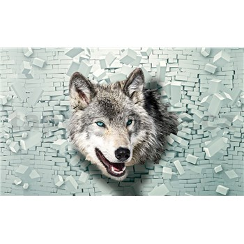 Vliesové fototapety 3D vlk rozměr 152,5 cm x 104 cm