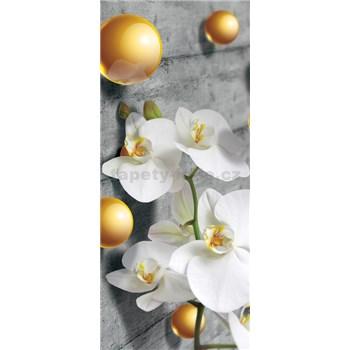 Vliesové fototapety orchidej a 3D kuličky rozměr 91 cm x 211 cm