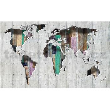 Vliesové fototapety 3D mapa světa rozměr 416 cm x 254 cm