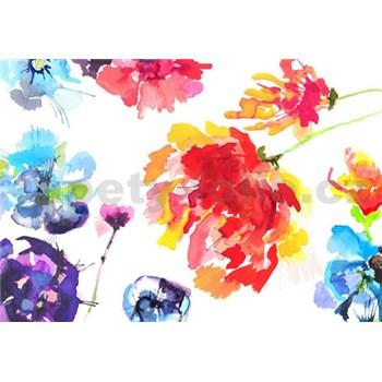 Fototapety květy malované akvarelem rozměr 368 cm x 254 cm