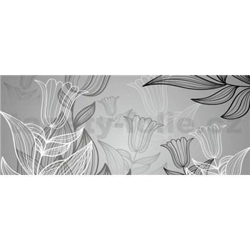 Vliesové fototapety listy s tulipány rozměr 250 cm x 104 cm