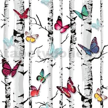 Papírové tapety na zeď Freestyle břízy s barevnými motýlky