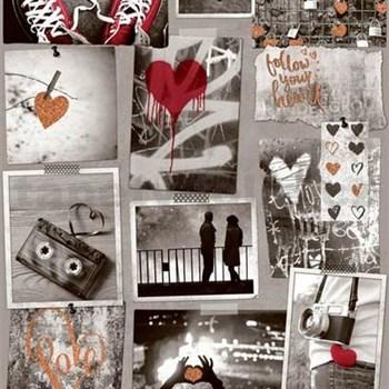 Papírové tapety na zeď Freestyle Love srdíčka měděná a červená