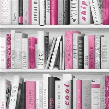 Papírové tapety na zeď Freestyle knihovna růžová