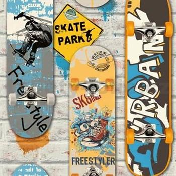 Papírové tapety na zeď Freestyle skateboardy barevné