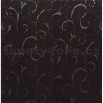 Samolepící tapety ornamenty s pruhy - hnědé 45 cm x 15 m