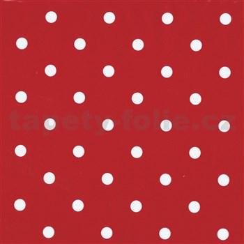 Samolepící folie bílé puntíky na červeném podkladu - 45 cm x 2 m