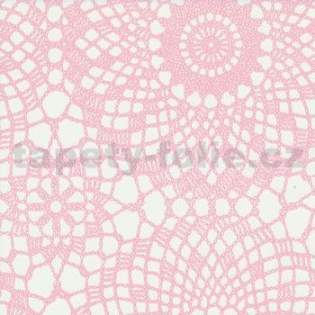 Samolepící tapety krajka růžová 45 cm x 15 m