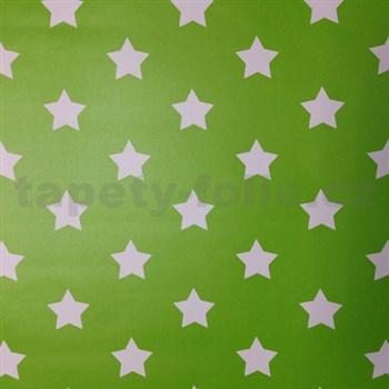 Samolepící tapety hvězdičky zelený podklad 45 cm x 15 m