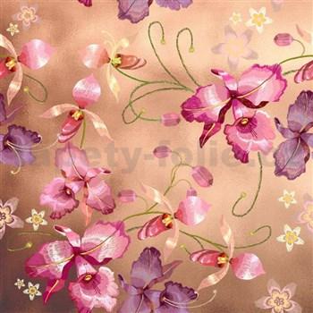 Samolepící fólie růžová orchidej niklová - 45 cm x 5 m