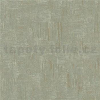 Vliesové tapety na zeď IMPOL Giulia pravidelná stěrka s metalickými odlesky zeleno-zlatá