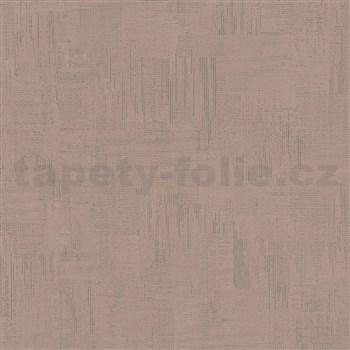 Vliesové tapety na zeď IMPOL Giulia pravidelná stěrka s metalickými odlesky hnědá