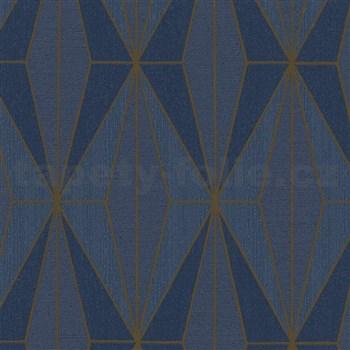 Vliesové tapety na zeď IMPOL Giulia Art-Deco vzor modrý se zlatými konturami