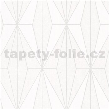 Vliesové tapety na zeď IMPOL Giulia Art-Deco vzor bílý se stříbrnými konturami