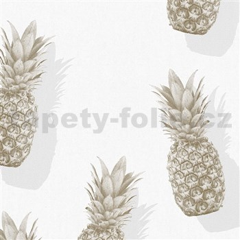 Vliesové tapety na zeď IMPOL Giulia ananasy šedo-zlaté