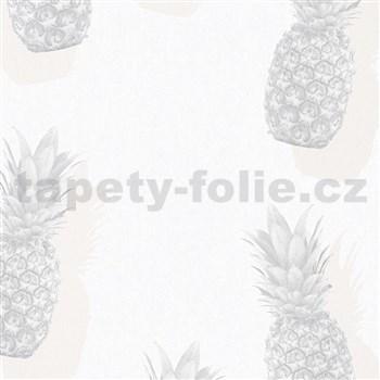 Vliesové tapety na zeď IMPOL Giulia ananasy šedo-béžové