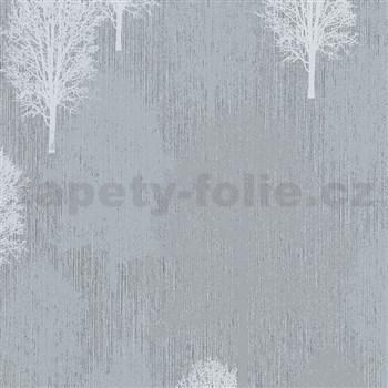 Vliesové tapety na zeď IMPOL Giulia stromy bílo-šedé na světle šedém podkladu