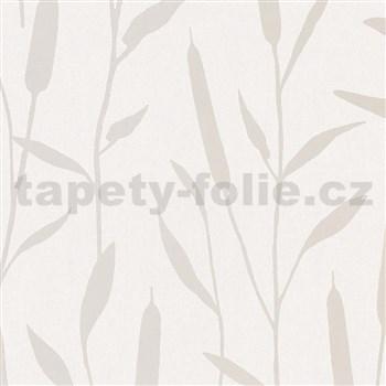 Vliesové tapety na zeď IMPOL Giulia rákos stříbrný na krémovém podkladu