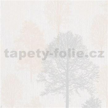 Vliesové tapety na zeď IMPOL Giulia stromy šedo-béžové na bílém podkladu
