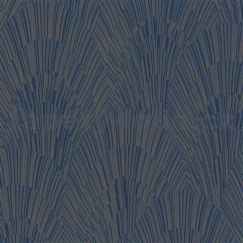 Vliesové tapety na zeď IMPOL Giulia Art-Deco vějířový vzor modro-zlatý