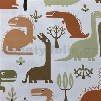 Vliesové tapety na zeď dinosaurus zeleno-oranžovo-hnědý