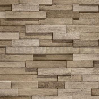 Vliesové tapety na zeď Facade dřevěný obklad středně hnědý