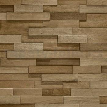 Vliesové tapety na zeď Facade dřevěný obklad hnědý