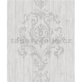 Vliesové tapety na zeď Facade dřevěný obklad bílo-šedý s šedým ornamentem