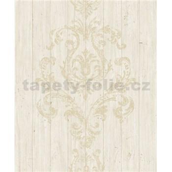 Vliesové tapety na zeď Facade dřevěný obklad hnědý s ornamentem