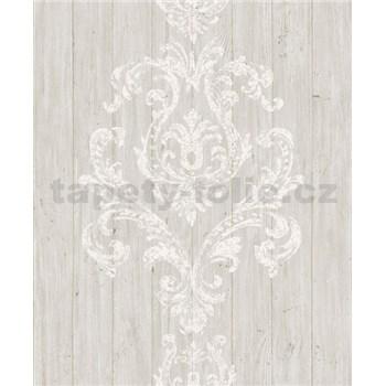 Vliesové tapety na zeď Facade dřevěný obklad s bílým ornamentem