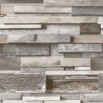 Vliesové tapety na zeď Facade dřevěná zeď hnědo-šedá