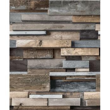 Vliesové tapety na zeď Facade dřevěná zeď hnědo-modrá