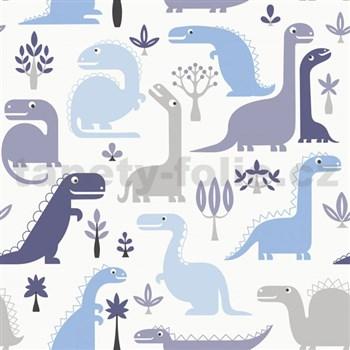 Vliesové tapety na zeď dinosaurus modrý, hnědý