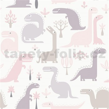 Vliesové tapety na zeď dinosaurus růžový, hnědý, fialový