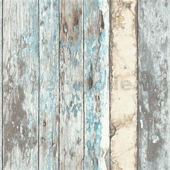 Vliesové tapety na zeď dřevěná prkna modro-hnědá